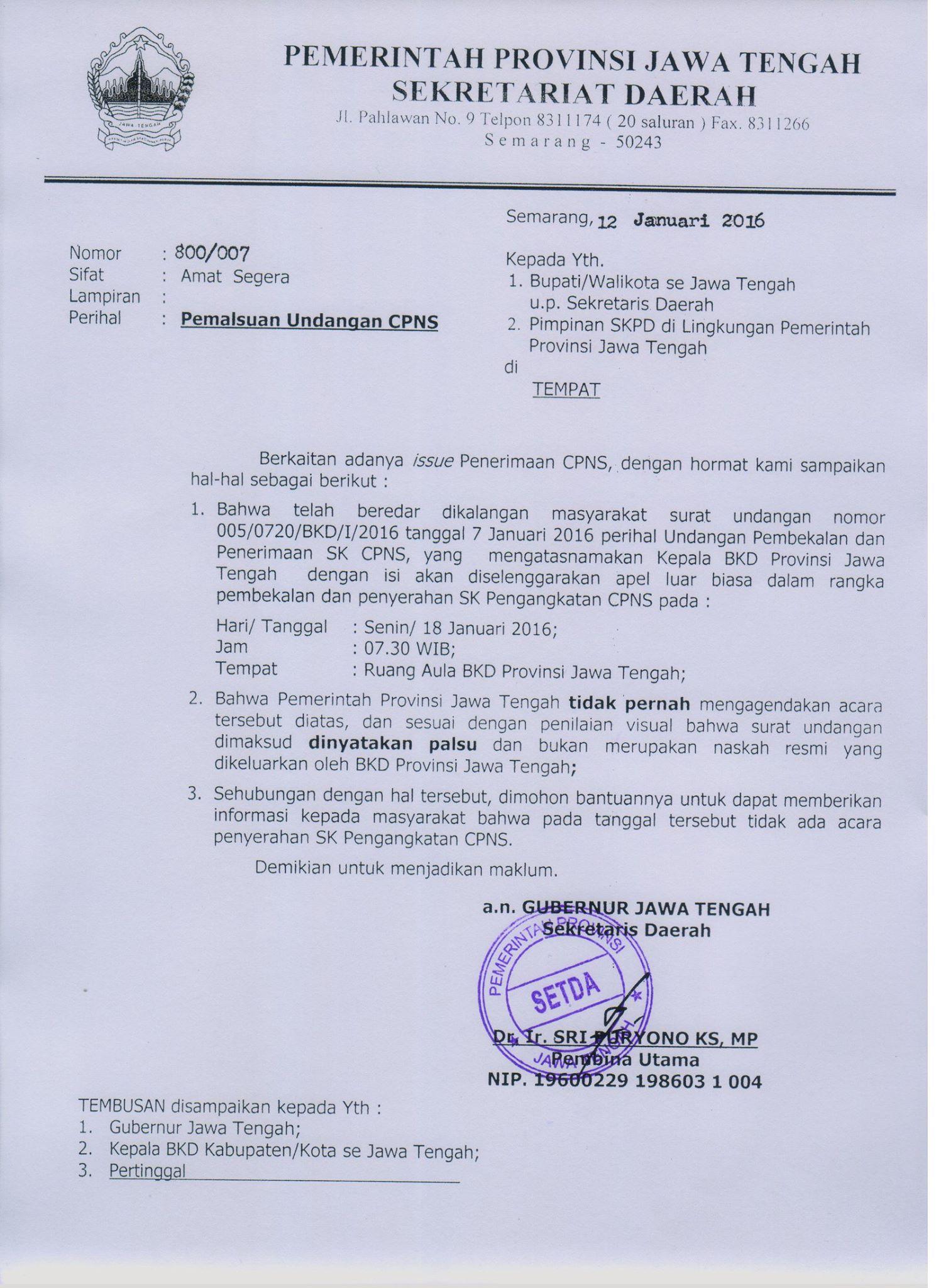 Pemalsuan Undangan CPNS | Pemerintah Kabupaten Kudus